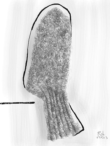 Vorige week zag ik dit kunstwerk in de Nationale Galerie in Kopenhagen. Links van de sok stond geschreven: MASSAGE å JYSK. Op internet vond ik verschillende betekenissen (Jysk is o.a. : 1. Afkomstig van Jutland, 2. Een voorwerp van jade voor handmassage, 3. Een Deens meubelmerk, 4. Een Deens warenhuis). Het bleef voor mij echter een mysterie waarom deze sok ondersteboven op een witgeverfde plaat geplakt was en met een viltstift omlijnd. Toen ik het museum met schilderkunst van Rubens tot Asger Jorn, van Memling tot Kirkeby verliet, bleef toch vooral deze curieuze collage in mijn hoofd hangen.