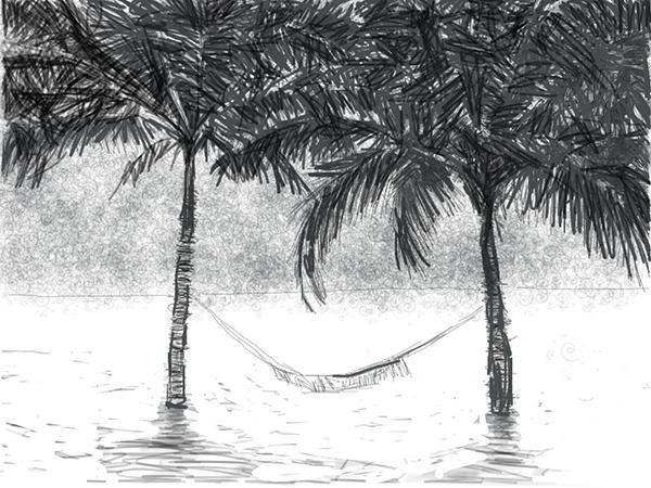Vijf voorschetsen van twee palmen, een hangmat en de rest.